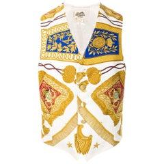 Hermes Man Ivory Silk Waistcoat Poste et Cavalerie