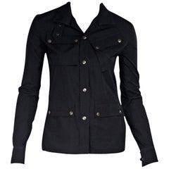 Black Balenciaga Long-Sleeve Blouse