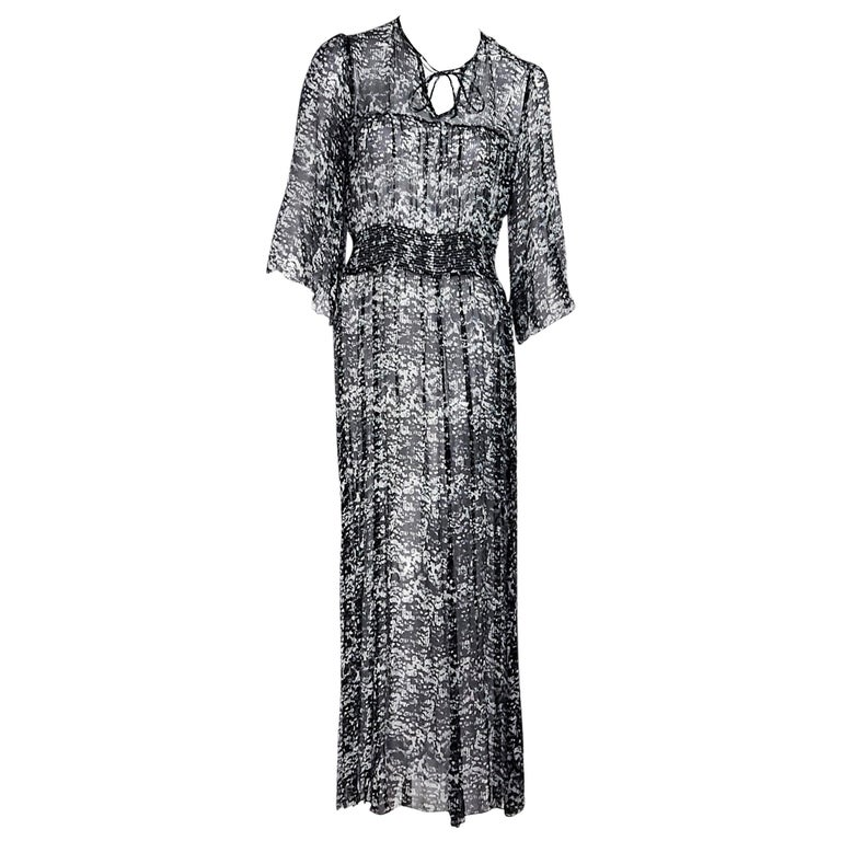 ba3708f226b Black and White Isabel Marant Silk Maxi Dress For Sale at 1stdibs