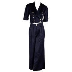 Navy Blue Vintage Chanel Wide-Leg Pant Suit
