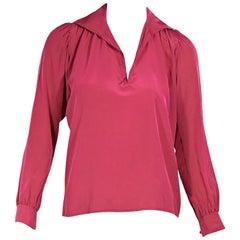 Saint Laurent Vintage Pink Silk Blouse