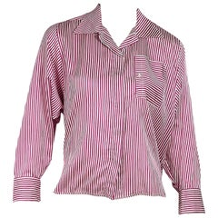 Chloe Red and White Vintage Striped Blouse