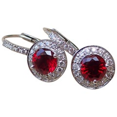 18k White Gold Earrings - 2.43 carats Chatham-Created Ruby & 0.41 carats Diamond