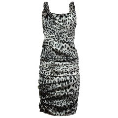 Dolce & Gabbana Black & Grey Silk Leopard Print Dress Sz IT44