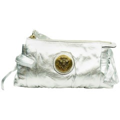 Gucci Silver Metallic Leather Clutch with Gold Emblem