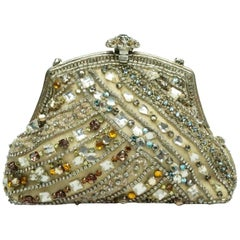 Larisa Barrera Gold and Metallic Jeweled Evening Bag