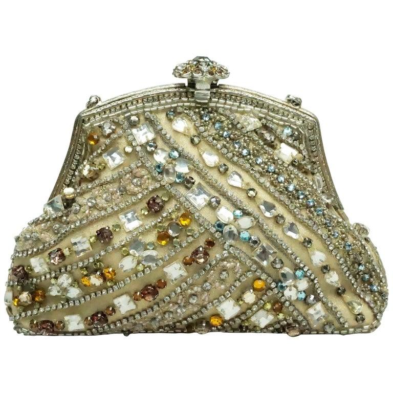 Larisa Barrera Gold and Metallic Jeweled Evening Bag For Sale