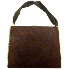 Vintage Brown Suede Handbag w/ Gold Frame