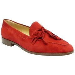 Gucci Vintage Red Suede Tassel Loafer