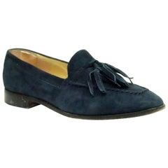 Gucci Vintage Navy Suede Tassel Loafer - 6