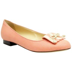 Charlotte Olympia Coral Linen Flats - 37