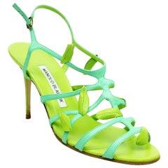 Manolo Blahnik Green Strappy Sandal Heel w/ Leaf Detail - 37