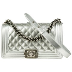 Chanel Silver Metallic Old Medium Boy Bag