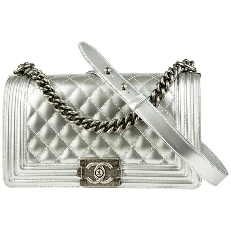 Chanel Silver Metallic Old Medium Boy Bag