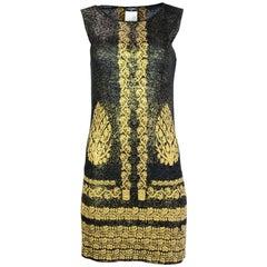 Chanel '10 Black & Gold Metallic Dress Sz FR36