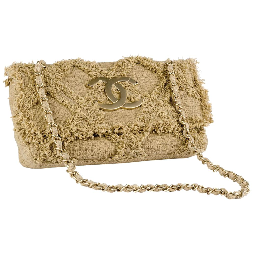 Chanel Rare Small Organic Nature Tweed Crochet Beige Taupe Classic Flap Bag