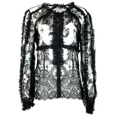 Dolce & Gabbana Black Ruffle Lace Top Sz IT46 NWT