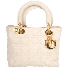 My Lady Dior Bag Medium Soft Grained Calfskin Leather - creamy white
