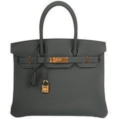 Hermes Vert Fonce gold hardware Birkin 30 Bag, 2018