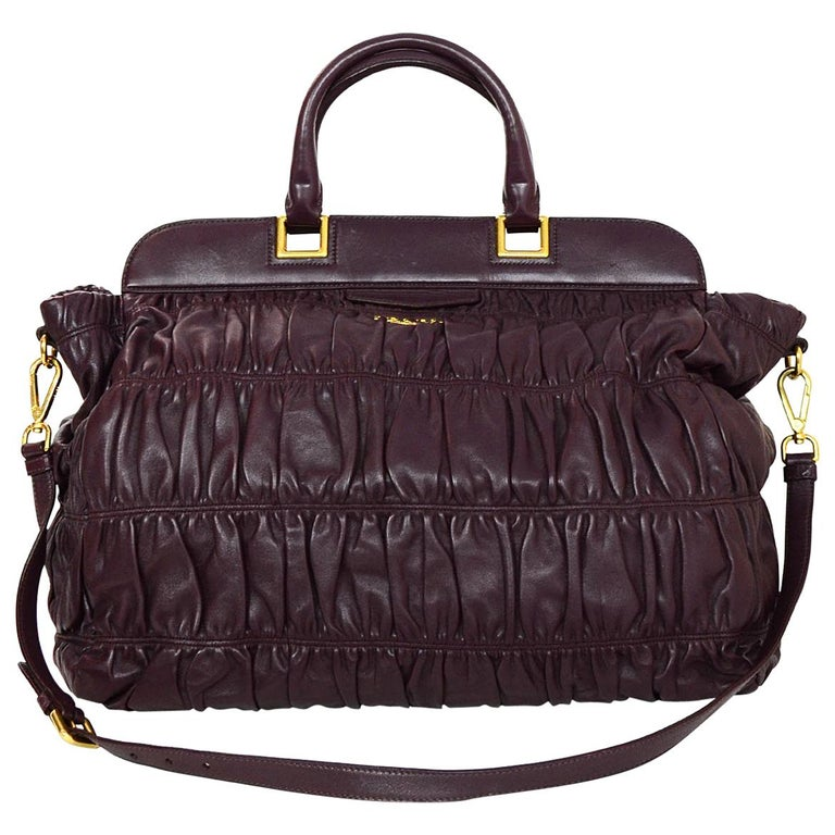6480890f4047 Prada Amaranto Nappa Gaufre Ruched Satchel Bag with Dust Bag For Sale