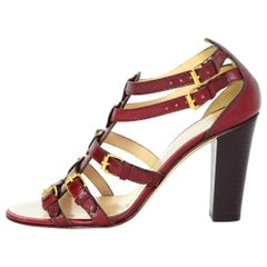 Giuseppe Zanotti Brick Red Leather Caged Sandals Sz 37.5 NEW with DB