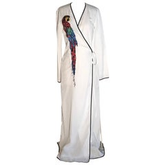 Attico Parrot Embellished White Wrap Maxi Dress