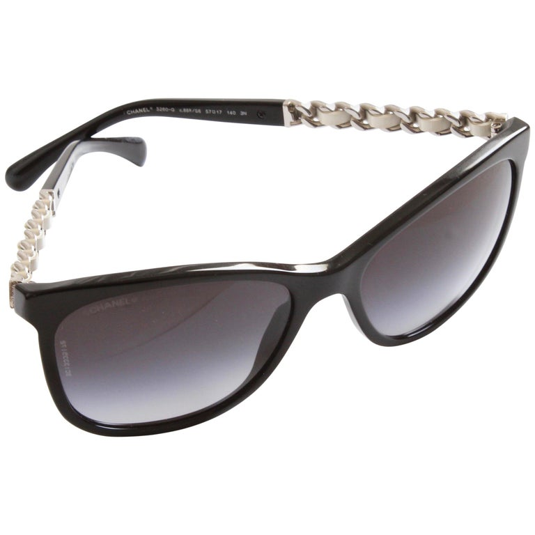 3e9f1390cb Chanel Cat Eye Silver Chain White Leather Sunglasses with Case