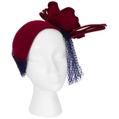 Sculptural Burgundy Cocktail Hat with Articulated Rose and Veil, 1940s