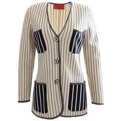 Ungaro Parallele Striped Patch Pocket Sweater Jacket Black & White Knit Size S