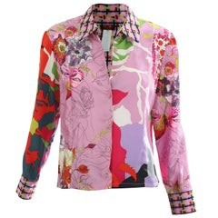 Christian Lacroix Silk Blend Blouse Bold Graphic Abstract Floral Print Sz 40