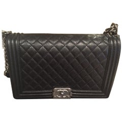Chanel BRAND NEW Caviar Boy Bag - New Medium size with Ruthenium Hardware
