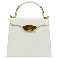 Karl Lagerfeld Vintage White Grained Leather Handbag