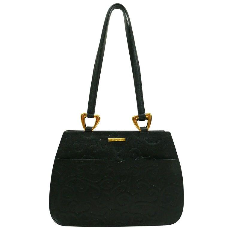 Yves Saint Laurent YSL Vintage Grained Black Leather Arabesque Bag