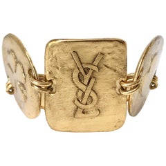 Yves Saint Laurent YSL 1980s Vintage Gold Plated Cuff Bracelet with Logo