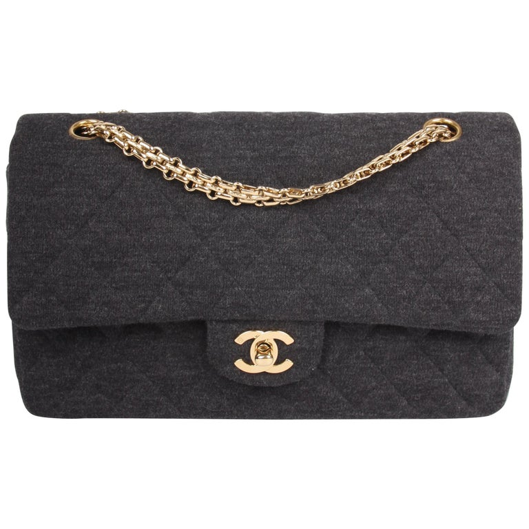 547380435152 Chanel 2.55 Reissue Medium Double Flap Bag Jersey - dark grey For Sale