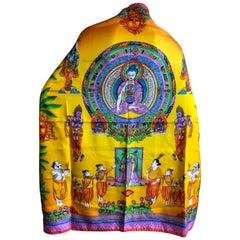 Atelier Versace Rare Bodhisattva Buddha Silk Scarf