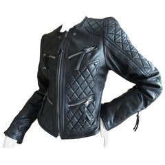 Roberto Cavalli Vintage Black Leather Quilted Motocross Zip Front Moto Jacket