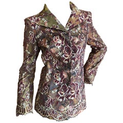 Christian Lacroix Vintage Lace Overlay Silk Jacket Size 38