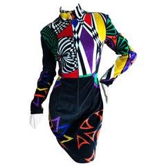 Gianni Versace Vintage Versus Velvet Op Art Pattern Zip Front Dress
