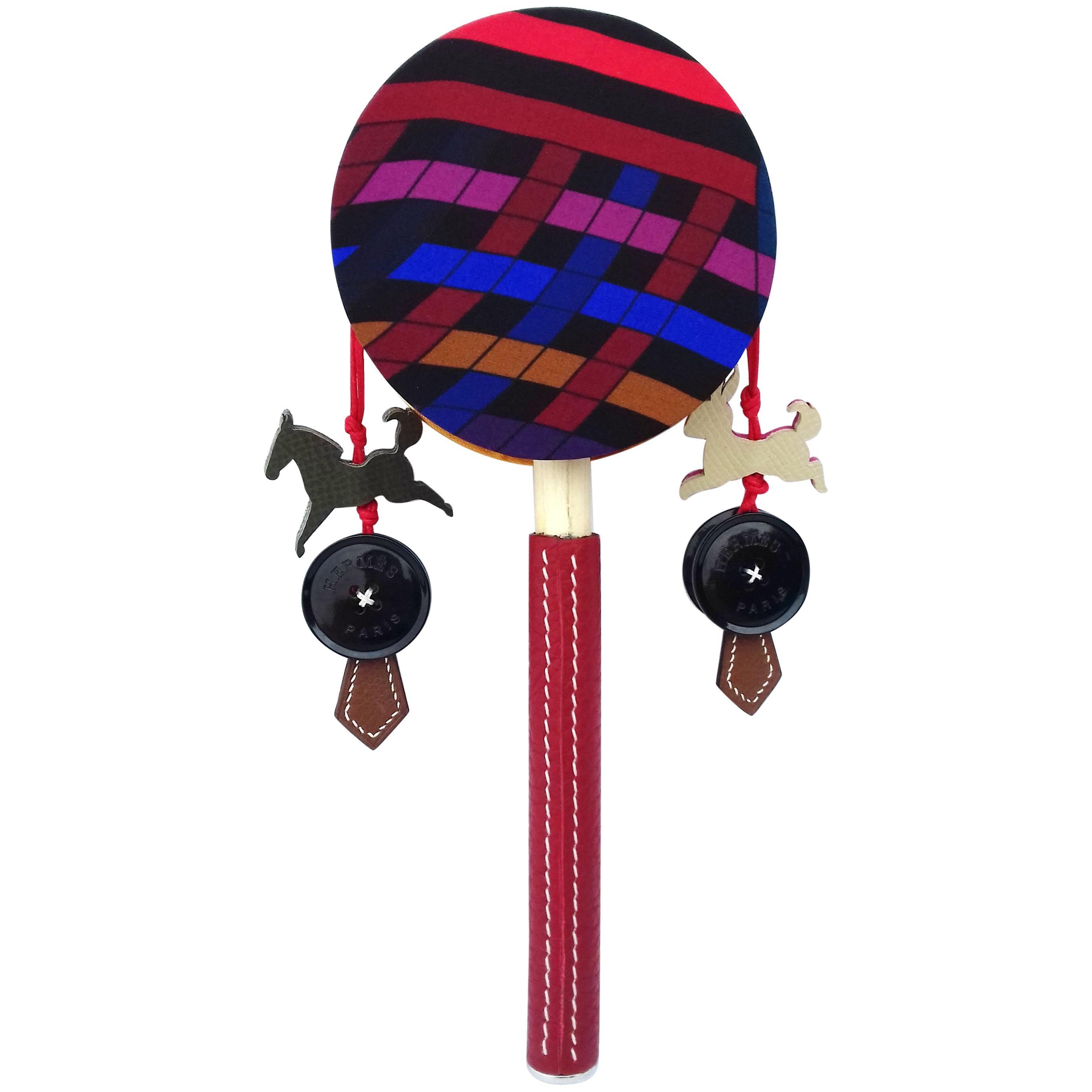 Hermès Petit H Tambourine Rattle Toy Silk Leather Wood in Box