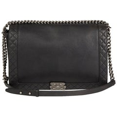 2014 Chanel Black Quilted Lambskin XL Le Boy Reverso