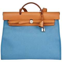 2011 Hermes Vache Hunter Cowhide Leather & Bleu Natural Canvas Herbag Zip 39