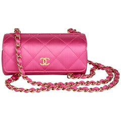 Chanel Magenta Quilted Satin Mini Barrel Wristlet, 2004