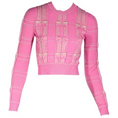 Pink Fendi Cable Knit Cropped Sweater