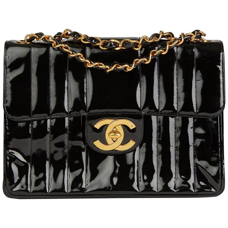762b4b5ff59b70 1994 Chanel Black Vertical Quilted Patent Leather Vintage Jumbo XL Flap Bag  For Sale