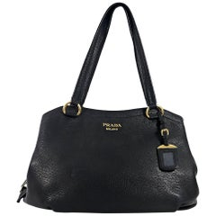 Black Prada Vitello Shopper Tote Bag