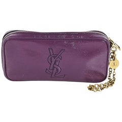 Purple Yves Saint Laurent Patent Leather Pouch