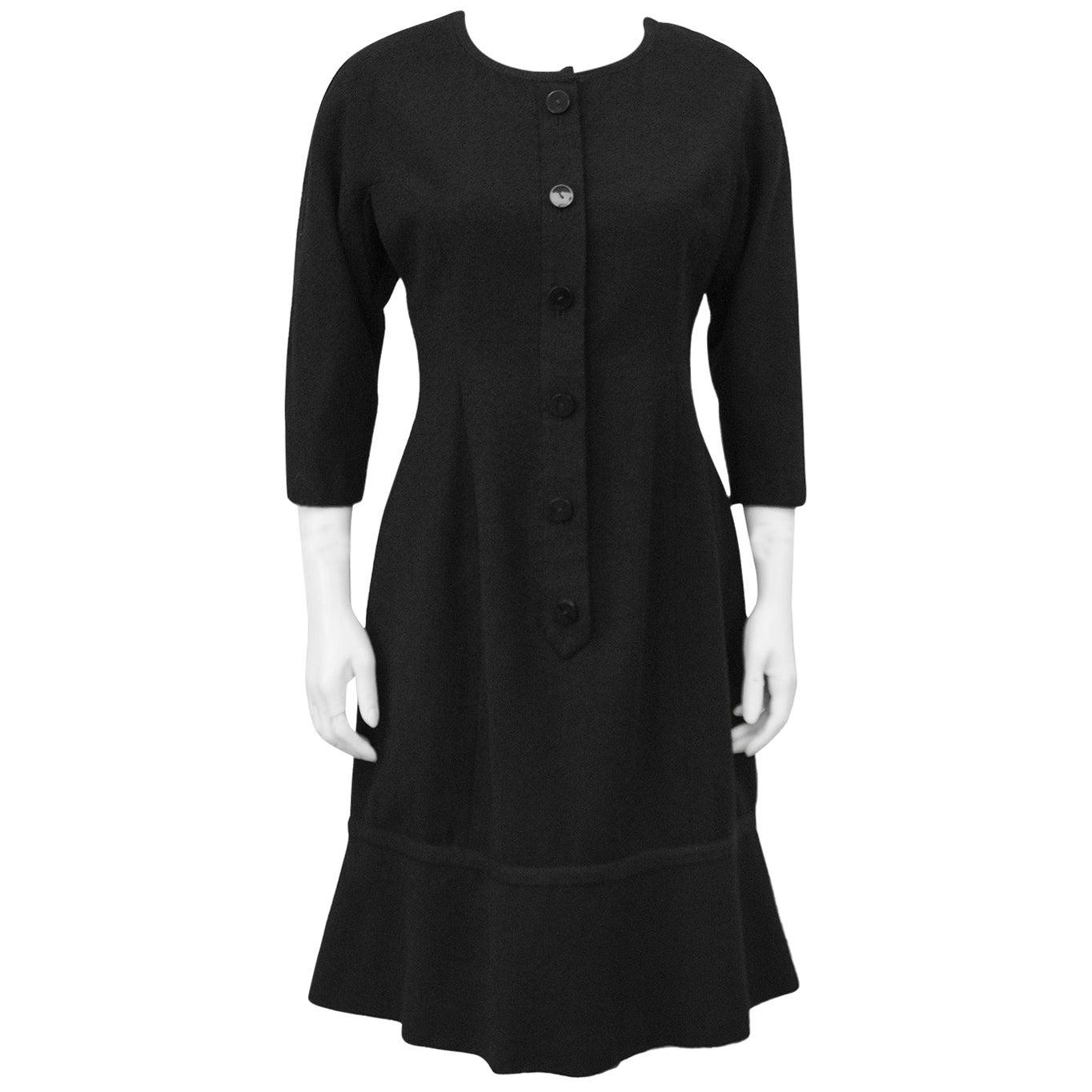 1950s Hattie Carnegie Boucle Black Long Sleeve Day Dress