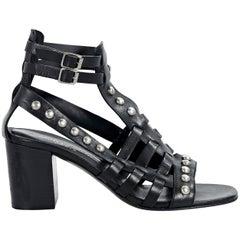 Black Saint Laurent Studded Leather Sandals