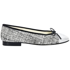 Metallic Silver Chanel Tweed Cap-Toe Ballet Flats